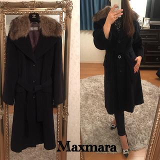 マックスマーラ(Max Mara)の今夜限定最終価格美品maxmara毛皮襟ベルト付き2wayチェスターコート38(チェスターコート)