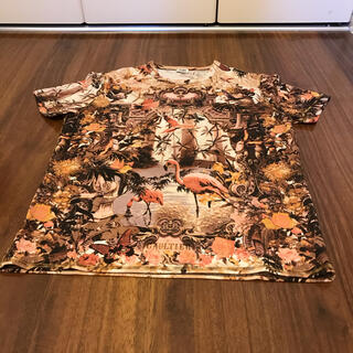 ジャンポールゴルチエ(Jean-Paul GAULTIER)のゴルチエ 楽園 パラダイス 総柄 フラミンゴ エデン 暖色(Tシャツ/カットソー(半袖/袖なし))
