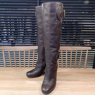クロエ(Chloe)の美品 クロエ ロング ブーツ ダーク ブラウン ゴールド 36.5 23.5cm(ブーツ)