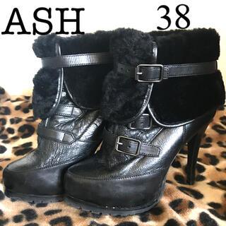 アッシュ(ASH)の美品❣️ASH ファー付きショートブーツ カッコイイ(ブーツ)