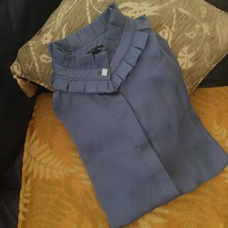 リリーブラウン(Lily Brown)のシスタージェーン  襟 フリル ブラウス ブルー グレー(シャツ/ブラウス(長袖/七分))