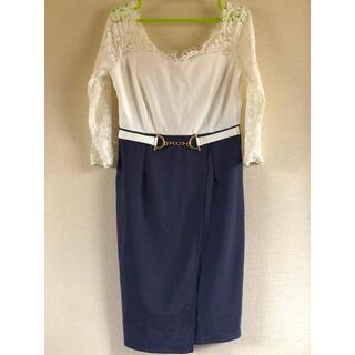 デイジーストア(dazzy store)のキャバドレス👗dazzystore👗白×紺👗(ミニドレス)