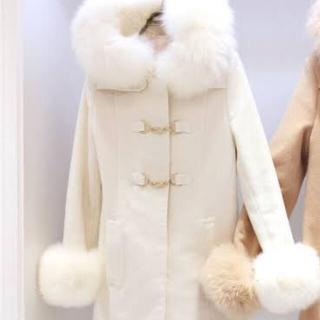エミリアウィズ(EmiriaWiz)のエミリアウィズ Foxファーコート ホワイト Sサイズ(ダッフルコート)