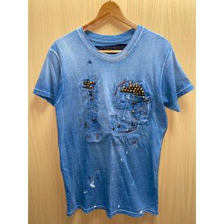 キャピタル(KAPITAL)のKAPITAL キャピタル スタッズ インディゴ ダメージ Tシャツ(Tシャツ/カットソー(半袖/袖なし))