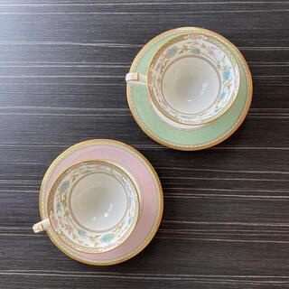 ノリタケ(Noritake)のノリタケ ヨシノ ボーンチャイナ グリーン ピンク セット(食器)