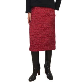 ドリスヴァンノッテン(DRIES VAN NOTEN)のDRIES VAN NOTEN ドリスヴァンノッテン スカート 刺繍 赤 36(ひざ丈スカート)