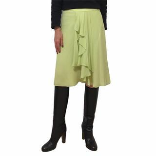 ドリスヴァンノッテン(DRIES VAN NOTEN)のDRIES VAN NOTEN ドリスヴァンノッテン スカート シルク 黄緑(ひざ丈スカート)