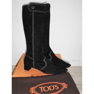 トッズ(TOD'S)の新品 正規品 トッズTOD'S本革ヌバック ロングブーツ黒37 1/2(ブーツ)