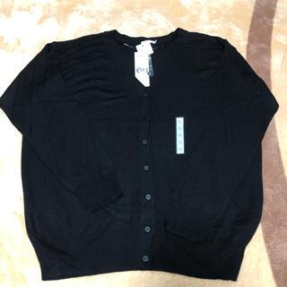 ジーユー(GU)の【新品】GU ウォッシャブルVネックカーディガン 長袖 XL BLACK(カーディガン)