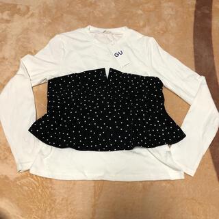 ジーユー(GU)の【新品】GU ビスチェコンビT ドット 長袖 M(Tシャツ(長袖/七分))