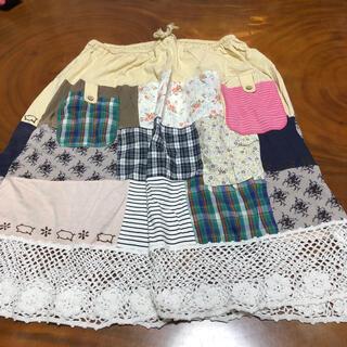 ドラッグストアーズ(drug store's)のDSドラッグストアーズ ロゴ刺繍&パッチワーク裾手編みレーススカート (ひざ丈スカート)