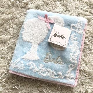 バービー(Barbie)の未使用保管品★Barbie バービー 水色 タオル ハンカチ ミニタオル リボン(その他)