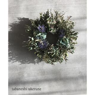 フレッシュユーカリと秋色紫陽花をふんわり束ねたシックな リース ドライフラワー(ドライフラワー)
