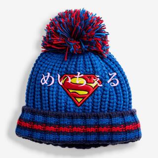 マーベル(MARVEL)の【新品】ブルー Superman ポンポン付きビーニー帽(ボーイズ)(帽子)