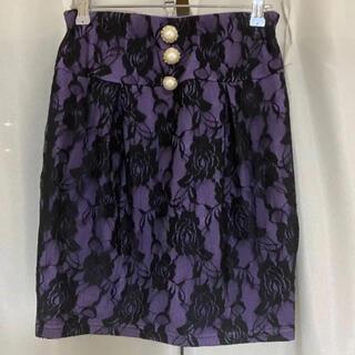 ユメテンボウ(夢展望)の夢展望 コクーンスカート ミニスカート 紫 刺繍(ミニスカート)