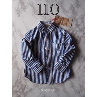 ゴートゥーハリウッド(GO TO HOLLYWOOD)のGO TO HOLLYWOOD 青ストライプシャツ 【110】(ブラウス)
