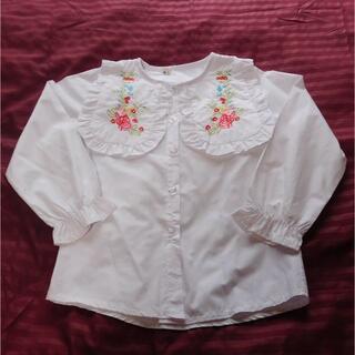 刺繍入り大きな襟のブラウス 110cm 子供服(ブラウス)
