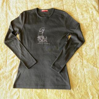 ジャンポールゴルチエ(Jean-Paul GAULTIER)のジャンポールゴルチエ似顔絵サイン刺繍カットソー 黒(Tシャツ/カットソー(七分/長袖))