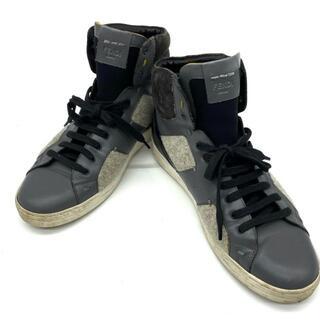 フェンディ(FENDI)のフェンディ 7E0770 ハイカット スニーカー 靴 シューズ レザー(スニーカー)