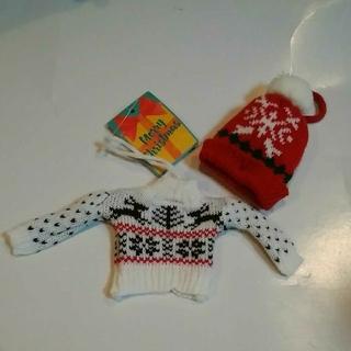 KALDI - カルディ クリスマスオーナメント ミニセーターとニット帽 白1