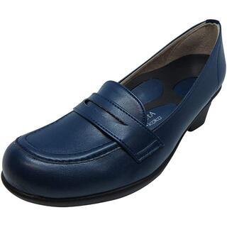 リゲッタ(Re:getA)の【新品】リゲッタ ローファー ミドルヒール ブルー 22.0(ローファー/革靴)