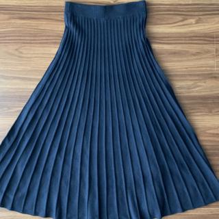 ミラオーウェン(Mila Owen)の美品◆ニットプリーツスカート ネイビー(ロングスカート)