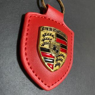 Porsche - 【新品】ポルシェ カラークレスト キーホルダー レッド 赤色 革調