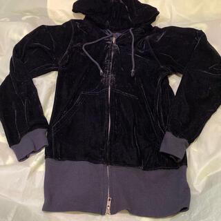 カステルバジャック(CASTELBAJAC)の黒ロングフード付きジャンバー、フリーサイズ女性用〜新品未使用品(ブルゾン)