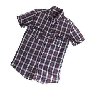マーガレットハウエル(MARGARET HOWELL)の定価1万2千!マーガレットハウエル 半袖チェックシャツ ブラウン(シャツ)