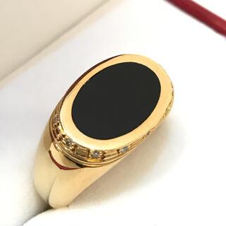 8270 18金 リング オニキス ダイヤモンド 指輪 23号 D0.12ct(リング(指輪))