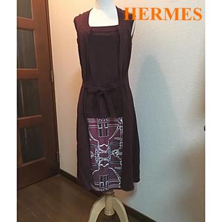 エルメス(Hermes)の美品 HERMES 上品なカシミヤ シルク ワンピース(ロングワンピース/マキシワンピース)