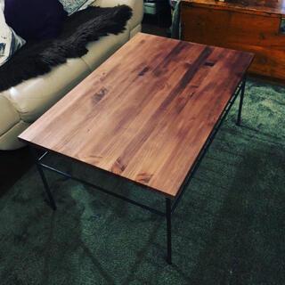 集成材のオシャレなダイニングテーブル アイアン家具 男前家具 溶接フレーム(ローテーブル)