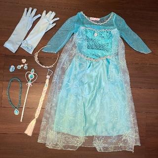 アナトユキノジョオウ(アナと雪の女王)のエルサ ドレス アナ雪 ワンピース 衣装 110(ワンピース)