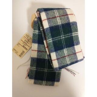 ムジルシリョウヒン(MUJI (無印良品))の新品 無印良品ウール織りマフラー(柄)グリーン×チェック(マフラー/ショール)