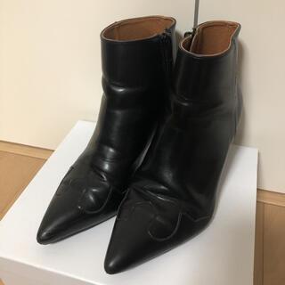 ミラオーウェン(Mila Owen)のミラオーウェン ウエスタンアンクルブーツ ショートブーツ 黒 36  23センチ(ブーツ)