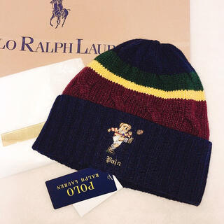 ポロラルフローレン(POLO RALPH LAUREN)のポロラルフローレン セーター ニット帽 ベア レディース ラグビー アメフト 冬(ニット帽/ビーニー)