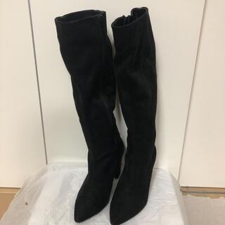 ミラオーウェン(Mila Owen)のミラオーウェン スウェード風ブーツ ロングブーツ 黒 23センチ/36(ブーツ)