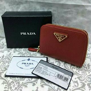 プラダ(PRADA)の1MM268 QHH プラダ コインケースレッド ミニ財布(コインケース)