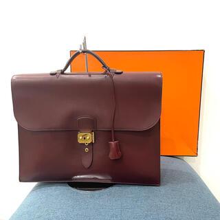 エルメス(Hermes)の美品 エルメス サックアデペッシュ38 ボックスカーフ ルージュアッシュ(ビジネスバッグ)