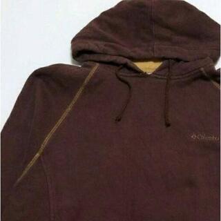 コロンビア(Columbia)のコロンビア 刺繍ロゴ スウェットパーカー ブラウン XL 古着 茶色(パーカー)