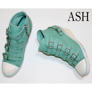 アッシュ(ASH)の正規品ASH/本革レザーヒールスニーカー/37/グリーン(スニーカー)