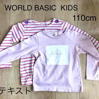 ワールドベーシック(WORLD BASIC)の美品⭐︎日本製女の子服110サイズ2枚セット(Tシャツ/カットソー)