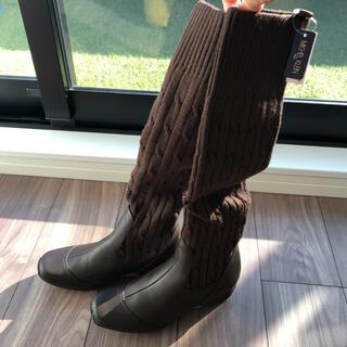 ミッシェルクラン(MICHEL KLEIN)のミッシェルクラン ニット ロングブーツ 茶色(ブーツ)