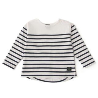 プティマイン(petit main)のプティマイン 120 オーガニックコットン パネルボーダーTシャツ(Tシャツ/カットソー)