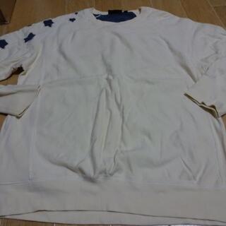 ダナキャランニューヨーク(DKNY)の希少正規品 ダナキャラン トレーナー 生成り 星形補修加工 コットン (スウェット)