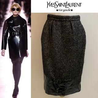 サンローラン(Saint Laurent)のYVES SAINT LAURENT 2006AW ツイードモヘア切替スカート(ひざ丈スカート)