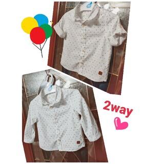 ザラ(ZARA)のZara Baby Boy  2way シャツ 長袖 半袖 86(Tシャツ/カットソー)