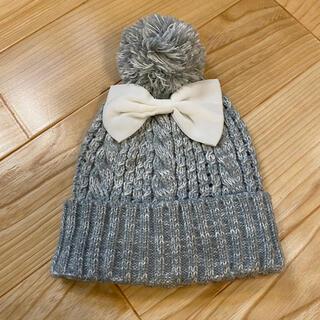 ベベ(BeBe)の美品 べべ  リボン ニット帽 S(帽子)