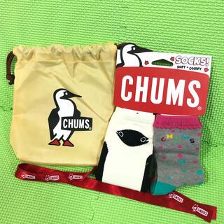 チャムス(CHUMS)のチャムス キッズ靴下2足セット 16〜18㎝ ギフト用巾着&リボン付き 未使用(靴下/タイツ)