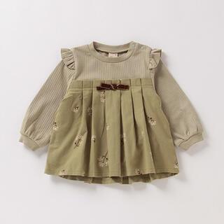 petit main - 未使用タグ付き プティマイン   花柄プリーツ切り替えテレコTシャツ